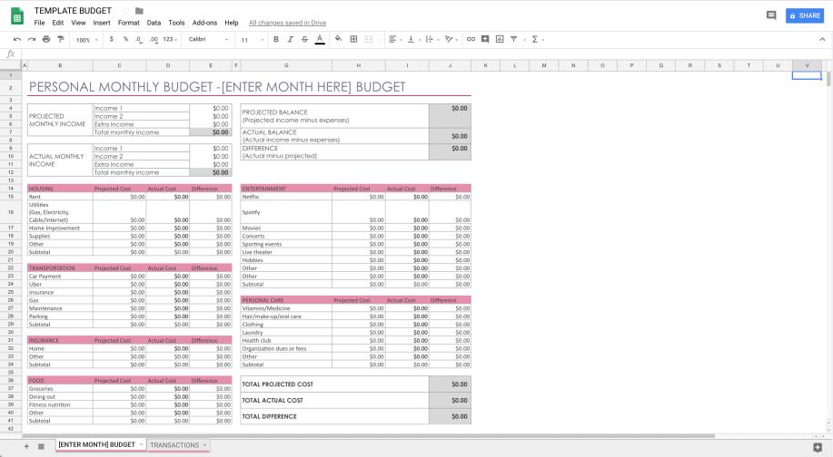easy budget template h a p p i l y h a l e i g h